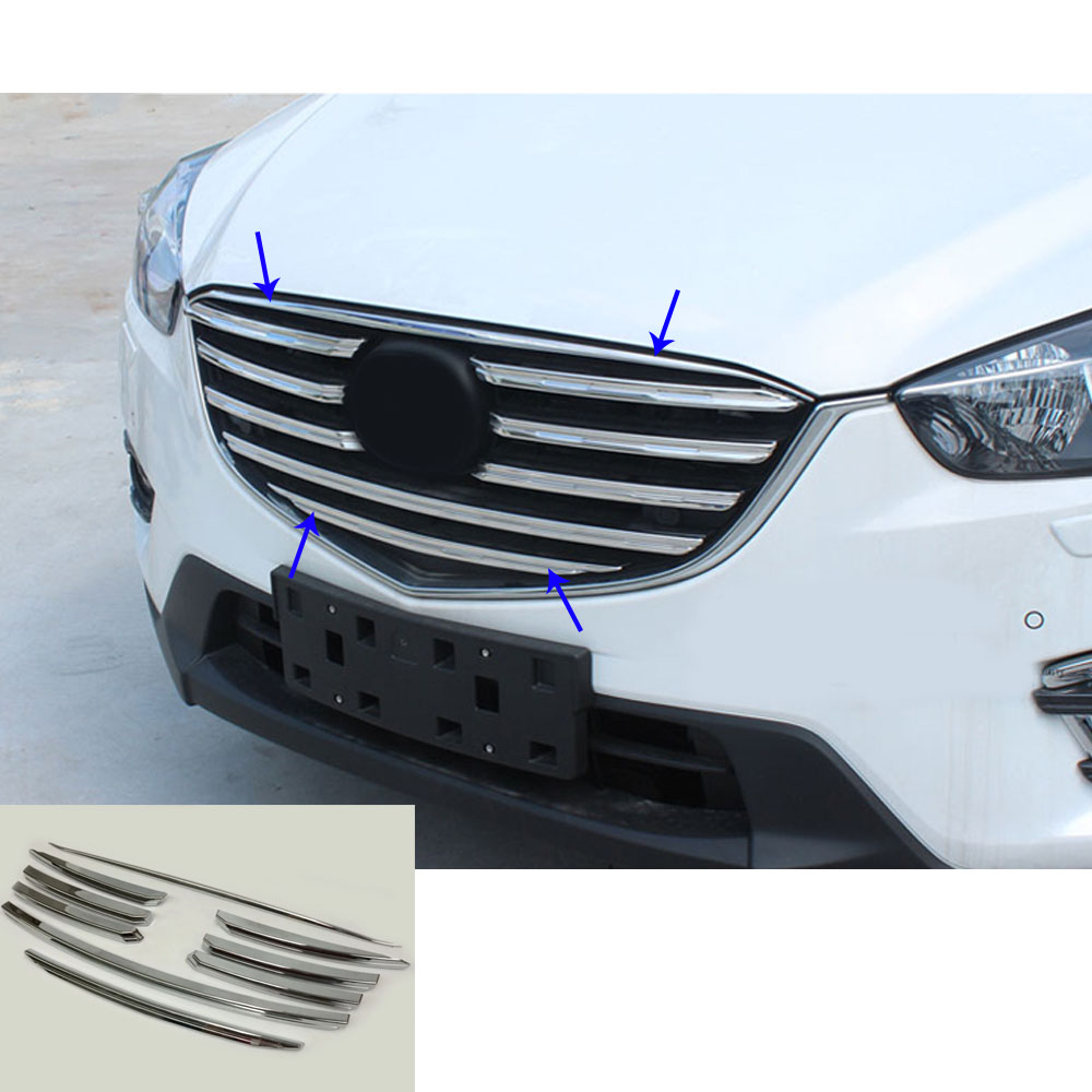 For Mazda CX-5 CX5 2013 2014 2015 2016 car body cover ABS chrome racing engine trim Front up Grid Grill Grille hoods part 9 car panel body cover protection trim front up grid grill grill racing 1pcs for nissan march 2011 2012 2013 2014 2015 2016 2017