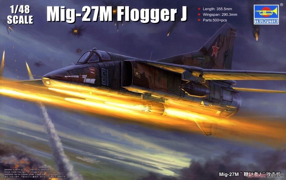 Trumpet 05803 1:48 Russian MIG -27M Flogger J Attack Aircraft Assembly Model Building Kits Toy 1 400 jinair 777 200er hogan korea kim aircraft model