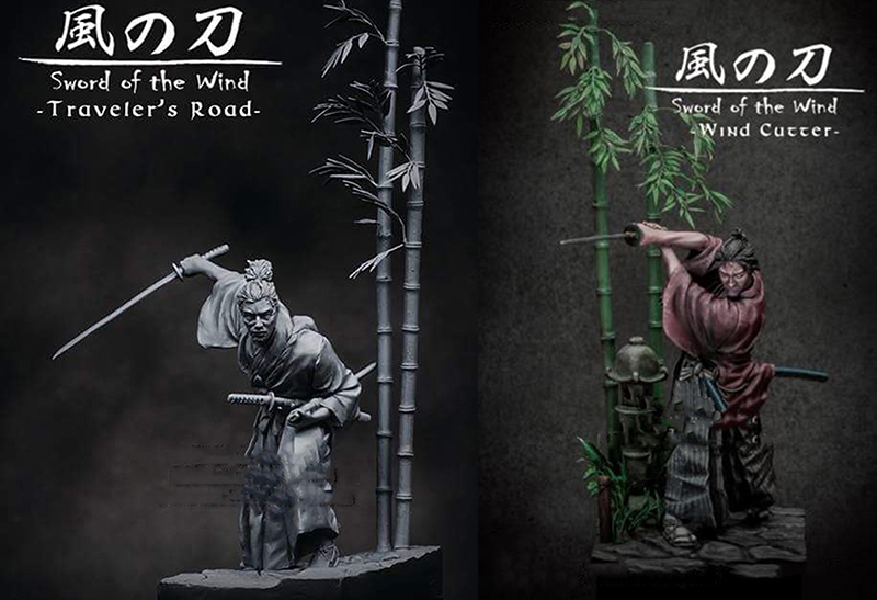 Unpainted Kit 1 24 75mm Sword of the Wind Samurai include 2 75mm figure Historical Resin