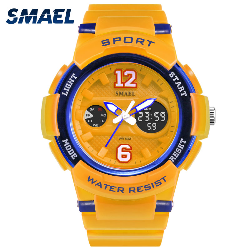 SMAEL Women Wristwatches For Sports Waterproof White Quartz Analog Digital Smart Fashion Hot 1632 Female Clocks LED Watch Woman