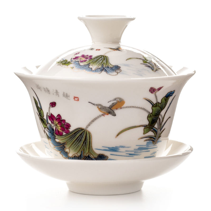 Gaiwan Tea Cup Tureen Teapot Chinese Traditional Kungfu Tea Pot Ceramic Tea Bowl Cup Porcelain Sancai