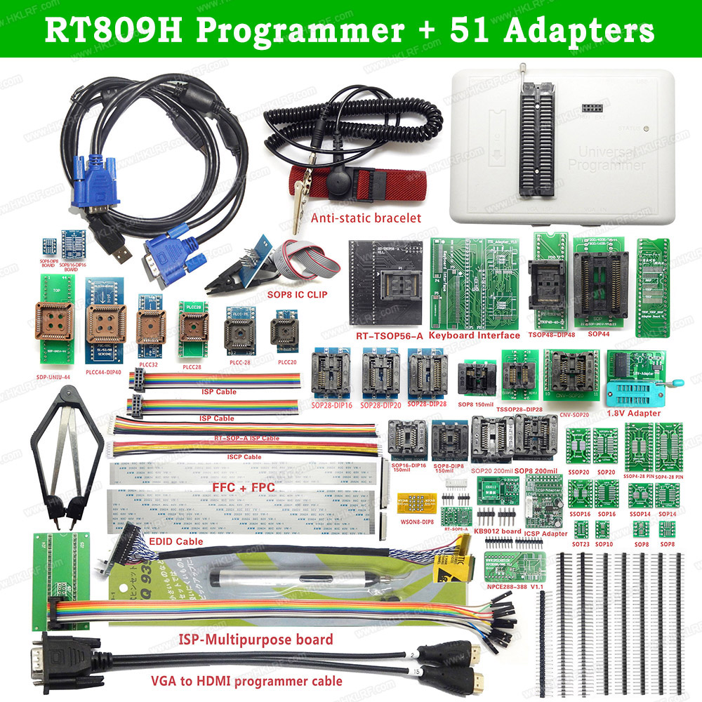 Newest Software Original RT809H+51 /31 /21 /12 Original Adapters EMMC-Nand FLASH Extremely Fast Universal USB Programmer