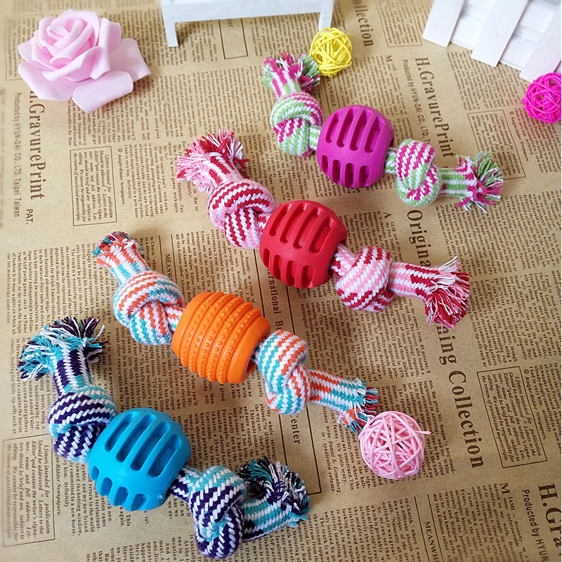 1pc Pet Dog Rope Chew Toys Knot Bone Ball Shape Pets Palying Knot Toy Cotton Teeth Cleaning Toys For Pet Dogs Reward Fetch Play