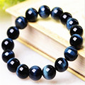 14mm Natural Blue Tiger's Eyes Gem Stone Stretch Bracelet For Women Men Powerful Big Round Bead Bracelet
