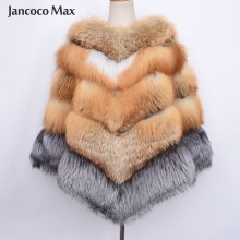 New Arrival Luxury Fox Fur Big Poncho Winter Thick Warm Real Shawl Fashion S7485