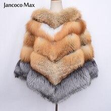 New Arrival Luxury Fox Fur Big Poncho Winter Thick Warm Real Fox Fur Shawl Fashion S7485