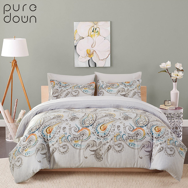 Puredown High Quality Bedding Set Embroidery Luxury Oriental King Queen Size Bed Duvet Cover Pillowcases Without Sheet