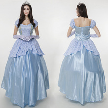 Ladies Blue Cinderella Fancy Dress Halloween Fantasia Costume