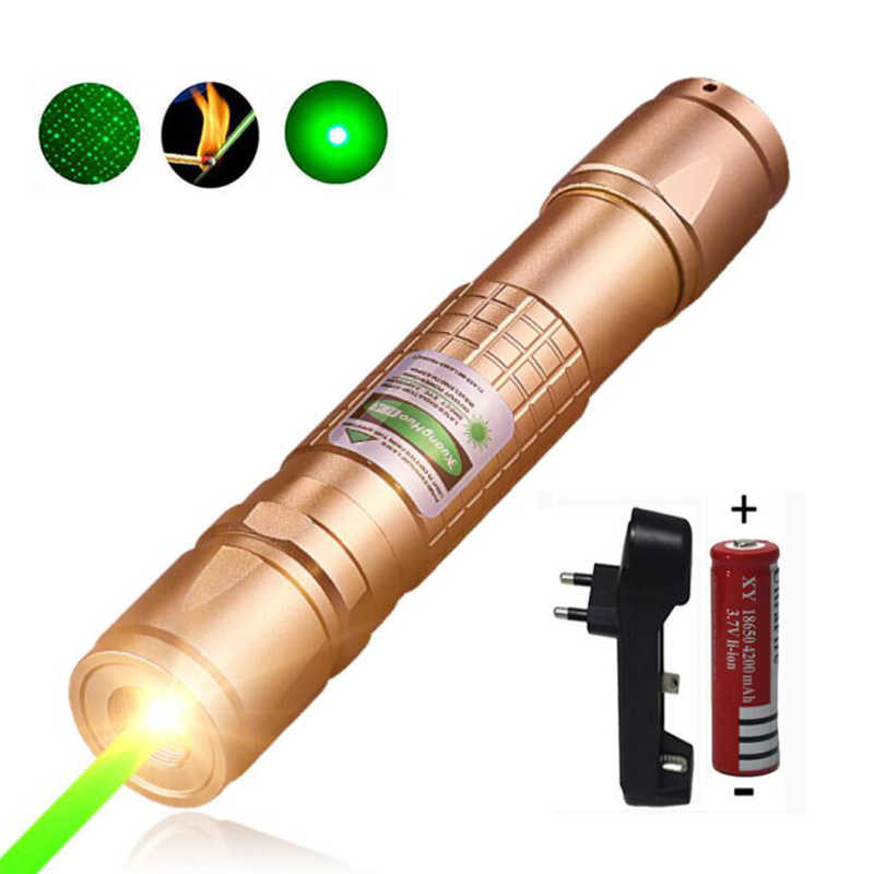 גבוהה כוח ירוק לייזר מצביע ציד לייזר טקטי לייזר sight עט 532 ננומטר 5 mW 303 שריפת laserpen + מטען + 18650 סוללה