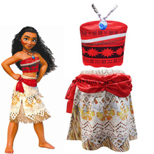 2019 Princess Moana Cosplay Costume for Children Vaiana dress Costume with Necklace for Halloween Costumes for Kids Girls Gifts baby girls clothes moana dress cosplay costume for children vaiana dress costume for halloween costumes for kids girls 63311
