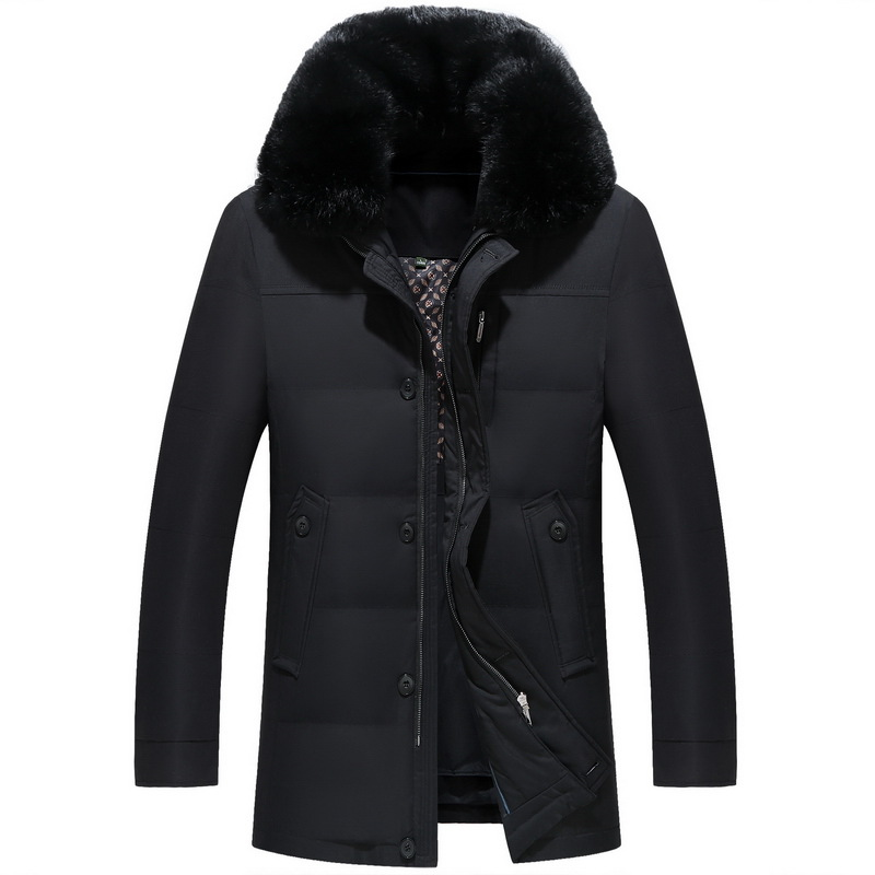 New Men Down Coat Fashion Winter Down Jacket Long Parka Thicken 90% Duck Down Fox Fur Collar -30C Free Shipping