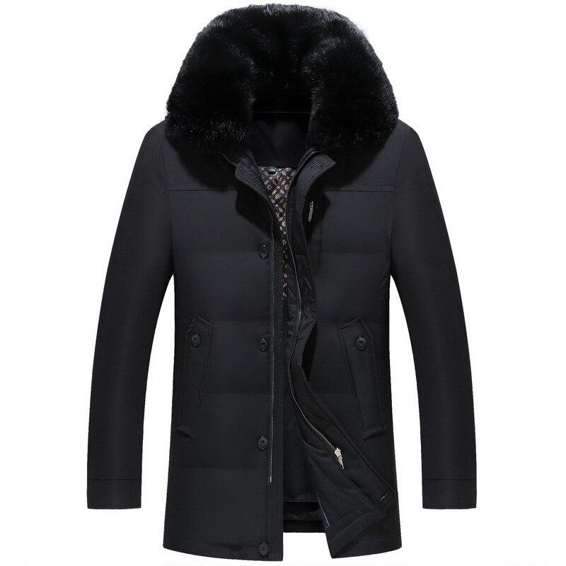 Nouveau hommes vers le bas manteau mode hiver doudoune longue Parka épaissir 90% duvet de canard col en fourrure de renard-30C livraison gratuite