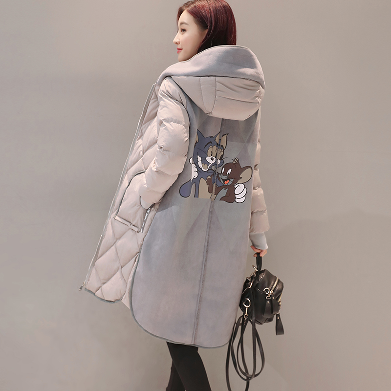 2017 New Winter Long Cartoon Printed Cotton Female Hooded Cotton Coat Thickening Wide-waisted Casual Parkas Women Padded Jacket 3 colors l 2xl 2015 new women winter down cotton padded coat female long hooded wide waisted jacket zipper outerwear zs247