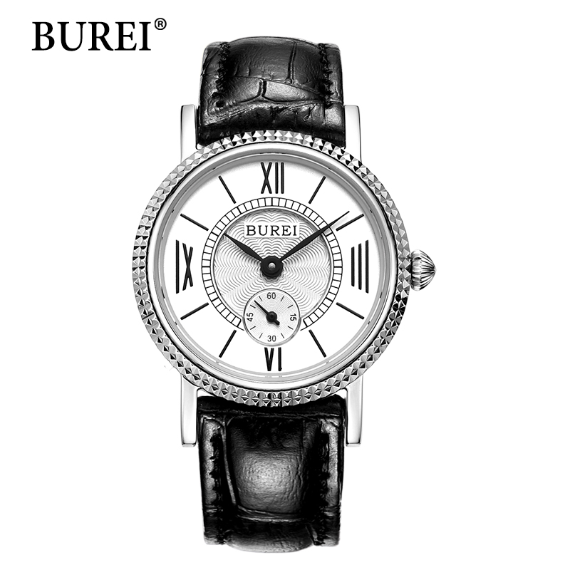 ФОТО BUREI Watch Women Fashion Sport Watches Genuine leather Strap Diamond Dial Female Clock Waterproof Quartz Wristwatches Hot Sale