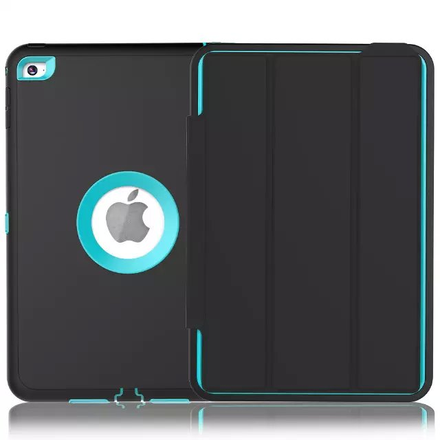 New Black Durable Folding TPU + Plastic Smart Case Cover for iPad Air 2 iPad 6 Fundas Coque Hybrid Skin Shockproof 6 Colors durable 6 100 290107
