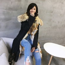 Long Parkas Real Fox Fur Lining Women Winter Fashion Genuine Fur Hooded Casual Jackets Woman Warm Coats Female Ladies Clothes