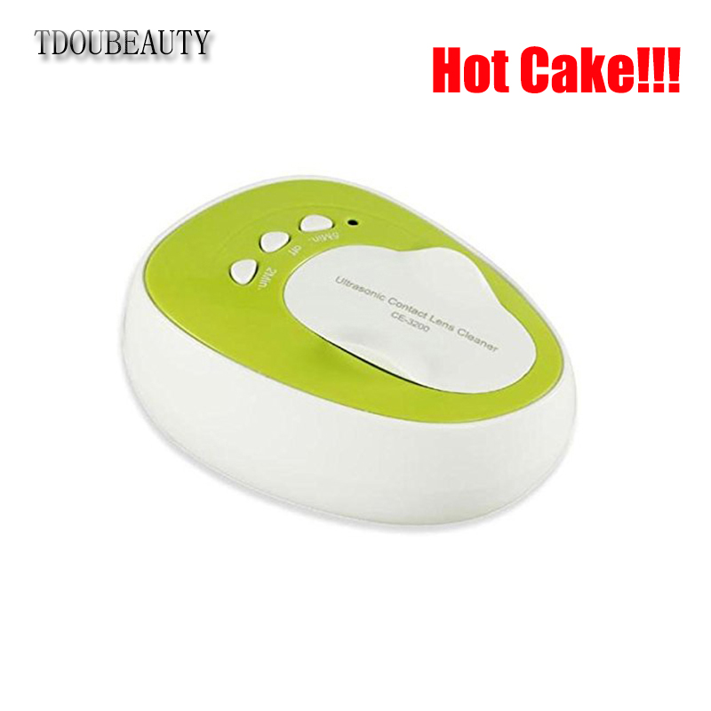 2018 TDOUBEAUTY CE-3200 Mini Ultrasonic Contact Lens Cleaner For Contact Lens Fast Cleaning New Green Free Shipping pocket mini contact lens case