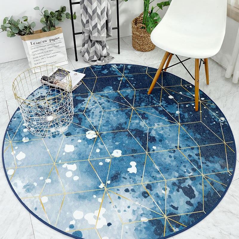 Ins Nordique moderne multi-fonction rond glabre tapis salon chaise d'ordinateur panier suspendu tapis Chenille antidérapant tapis