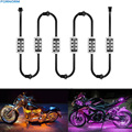 6Pcs RGB Car Motorcycle LED Strip Light Remote Control LED Strip lights Car Styling Atmosphere Lamps 5050 SMD For Halley Knight