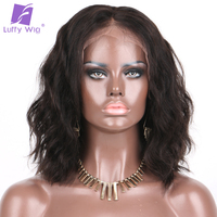 150%density Natural Wave 13*6 Lace Front Wigs Short Bob Brazilian Human Hair Natural Color Luffy Non-remy 10-14''for Black Women