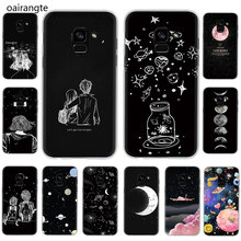 black with white moon stars space Hard phone cover case for Samsung Galaxy A6 plus 7 8 9 2018 A10S 20S 20E 30S 40S 50S 60 70S