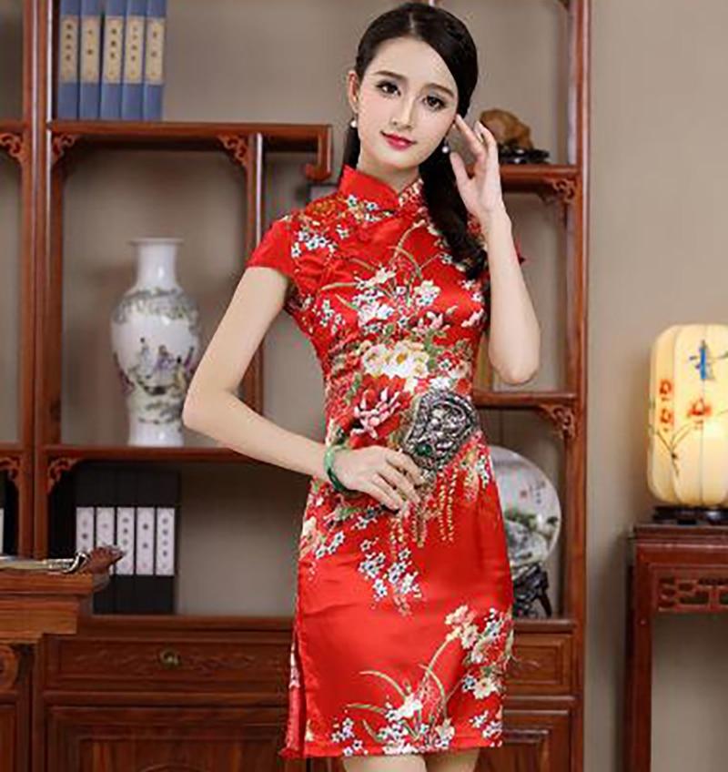 Sexy Mini Stain Women s Short Sleeve Qipao Dress Chinese Vintage Mandarin  Collar Formal Short Flower Cheongsam M L XL XXL JY013-in Cheongsams from  Novelty ... 79a0a1e58280