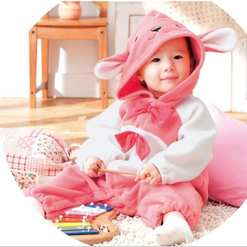 cute baby clothes Baby Winter Bowknot Rompers infant clothing animal rabbit cartoon Hoodies Jumpsuit fleece baby girl clothes 69 mother nest 3sets lot wholesale autumn toddle girl long sleeve baby clothing one piece boys baby pajamas infant clothes rompers