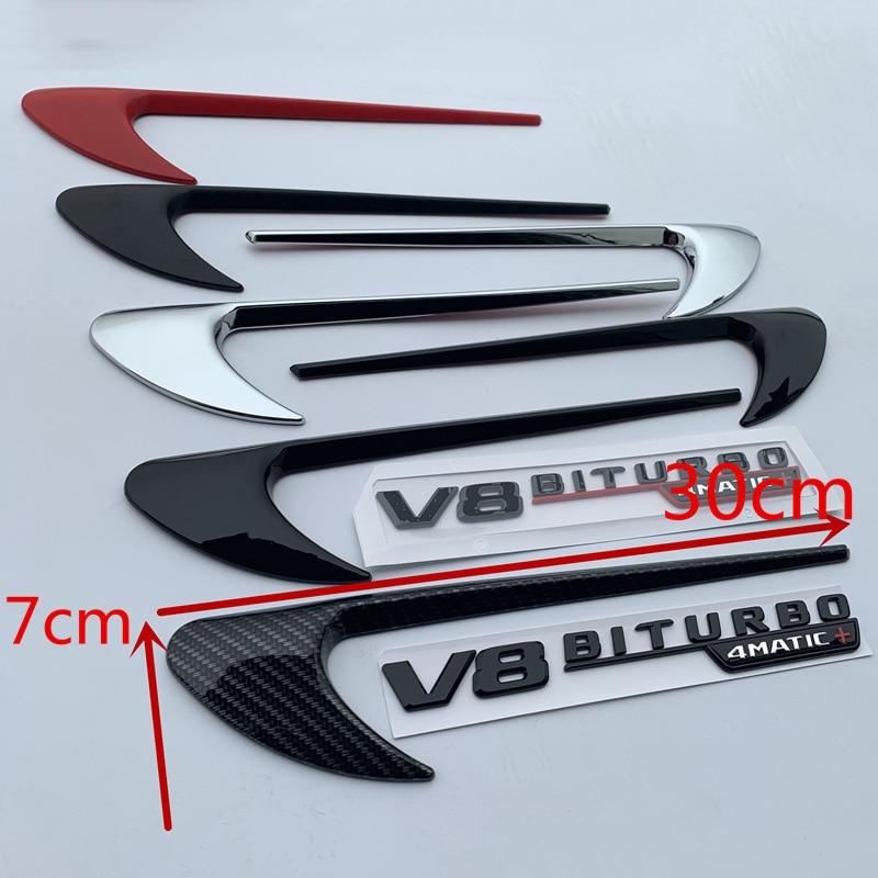 Décoration latérale d'autocollant de Logo de lame d'emblème de garniture d'aile d'évent pour Benz AMG V8 C200 C300 E300 E400 W213 noir brillant de Fiber de carbone - 3