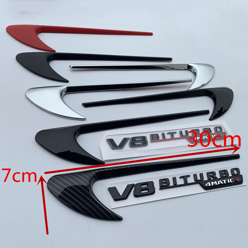 Image 3 - Vent Fender Trim Emblem Blade Logo Sticker Side Decoration for Benz AMG V8 C200 C300 E300 E400 W213 Carbon Fiber Gloss Black-in Car Stickers from Automobiles & Motorcycles