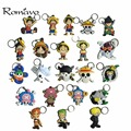 2017 22 styles Men Chaveiros Porte Clef Animation One Piece Luffy Roronoa Choppe Sanj Zoro Hand Keychain Anime Pvc Dropshipping
