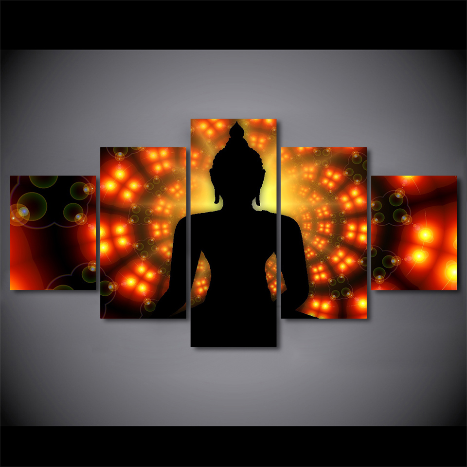 Modular Decoration HD Posters Picture Printed Modern 5 Panel Buddha Backlight On Canvas Wall Art Home Frame Living Room Painting