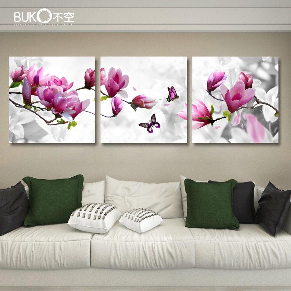 Buy 3panel orchid flower art flower - Living room flower decorations ...