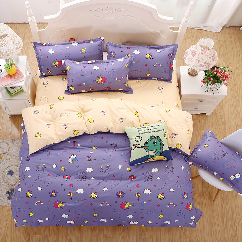 New Bedding Sets Purple Style Cute Little Bee Reactive Printing Kids flat Sheet Quilt Cover ...