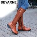 Fivela de Cinto de moda Mulheres Ocidentais Botas de Montaria Grosso Faux Suede Joelho Botas Altas de Salto Alto Tamanho Grande 34-43