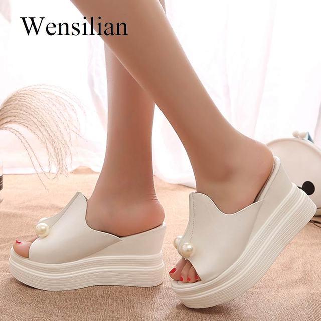 a438c389 Letnie buty na wysokim obcasie sandały kliny buty dla kobiet buty na  koturnie kostki pasek kapcie