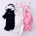 Family christmas pajamas Winter thick Flannel Bathrobe children's pajamas nightgown robe kids Sleepwear Animal Leopard Pink robe