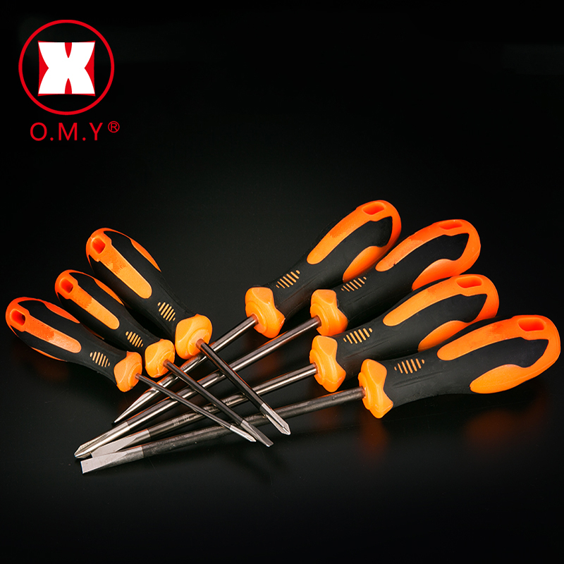 OMY Hot Sale Cross Head Flat Head Slotted Tip Screwdriver Magnetic Phillips Slotted Lengthen Plastic Handle Repair Tools 3/4/6mm