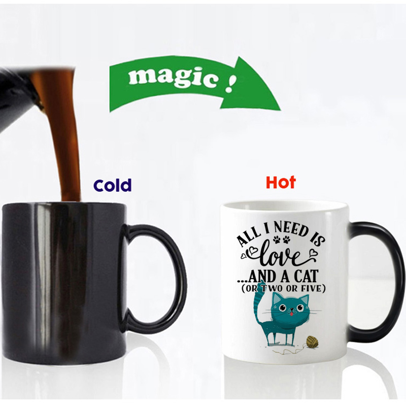 all i need is love and a cat or two or five magic mug