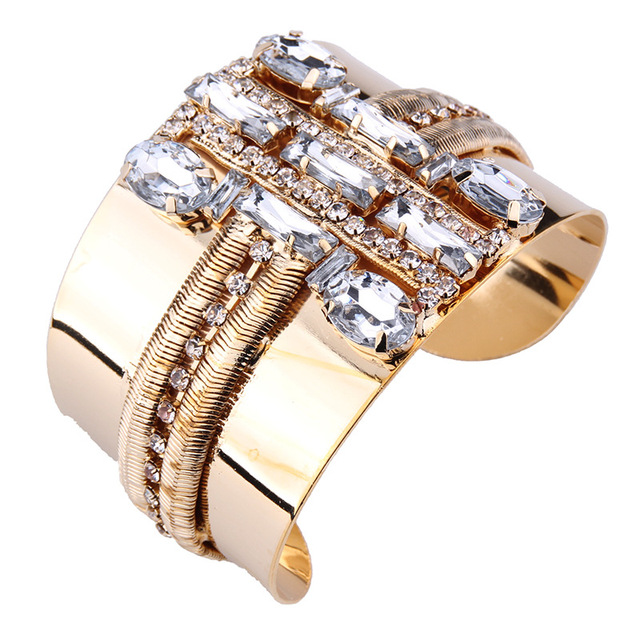 Fashion Gold Silver Plated Rhinestone Statement Bangle
