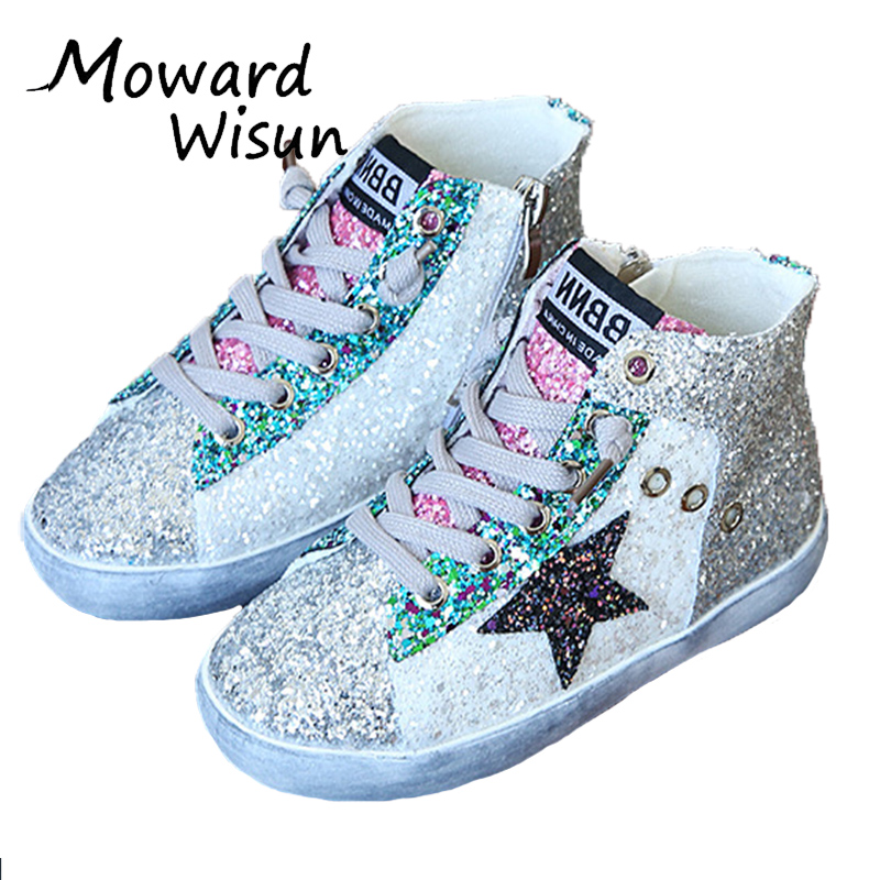2017 High Top Fashion Brand Children Glitter Sneaker Baby Girl Boy Trainer Toddler Pu Leather Sequins Jogging Sports Shoes 40