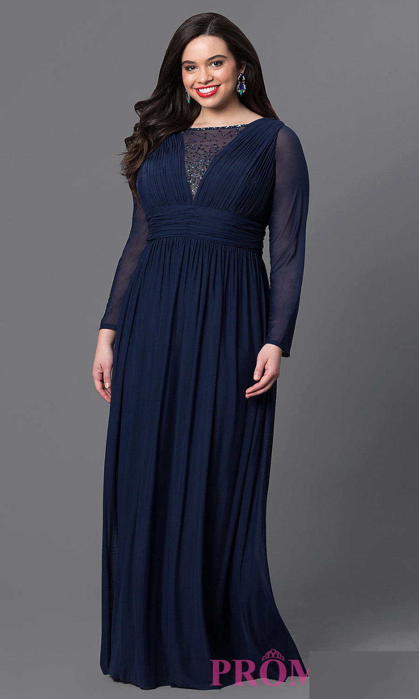 Navy Blue Chiffon Plus Size Evening Dresses 2016 ...