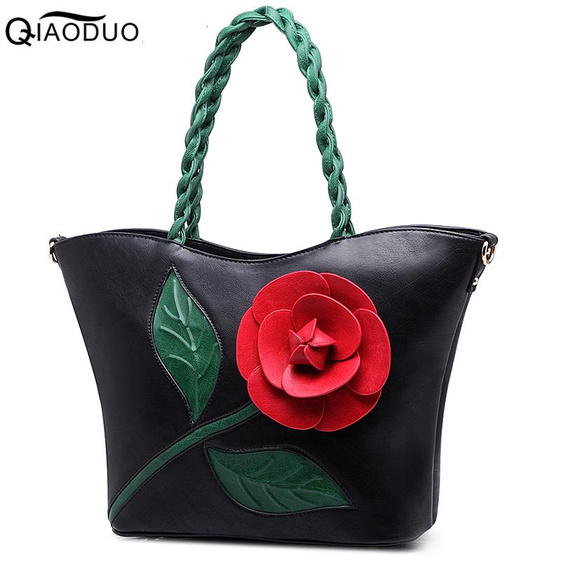New 2018 Women 3D flower Handbags Woven Strap bag PU Leather Totes Large Capacity Single Shoulder Bags For Holiday Good Quality