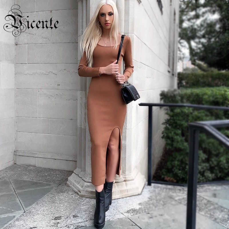 Vicente 2019 New Brown Dress Sexy Split Design Scoop Neck Long Sleeves Vestido Celebrity Party Casual