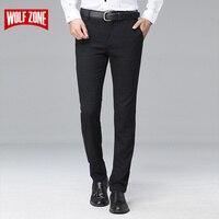 2017 Gorąca Sprzedaż Sukienka Marki Mężczyzn Spodnie Formalne Fit Mid Business Casual Garnitur Full Length Perfumy Stretch Biuro Męskie Ślubne spodnie