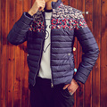 2016 Fashion Men's Winter Jacket Warm Thick Printed Cotton Padded Coats Zippered Stand Collar Bomber Jacket Parka Wadded Clothes