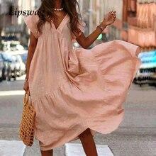 1870d4e54da870 Lipswag 3XL Sommer Frauen V-ausschnitt Reine Farbe Lose Kleid Casual Kurzarm  Party Kleider Damen