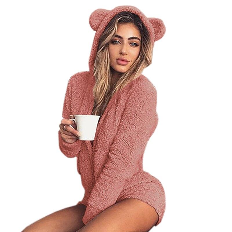 Mujer otoño sólido mamelucos Sexy dama Casual hogar servicio de invierno monos de manga larga mono con capucha Plus tamaño M0003