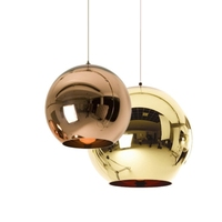Wonderland Famous Design Silver/Gold/Red/Copper Mirror Lucky Ball Pendent Light Lamp Luster Star Ball Classic Foyer Palor Bar