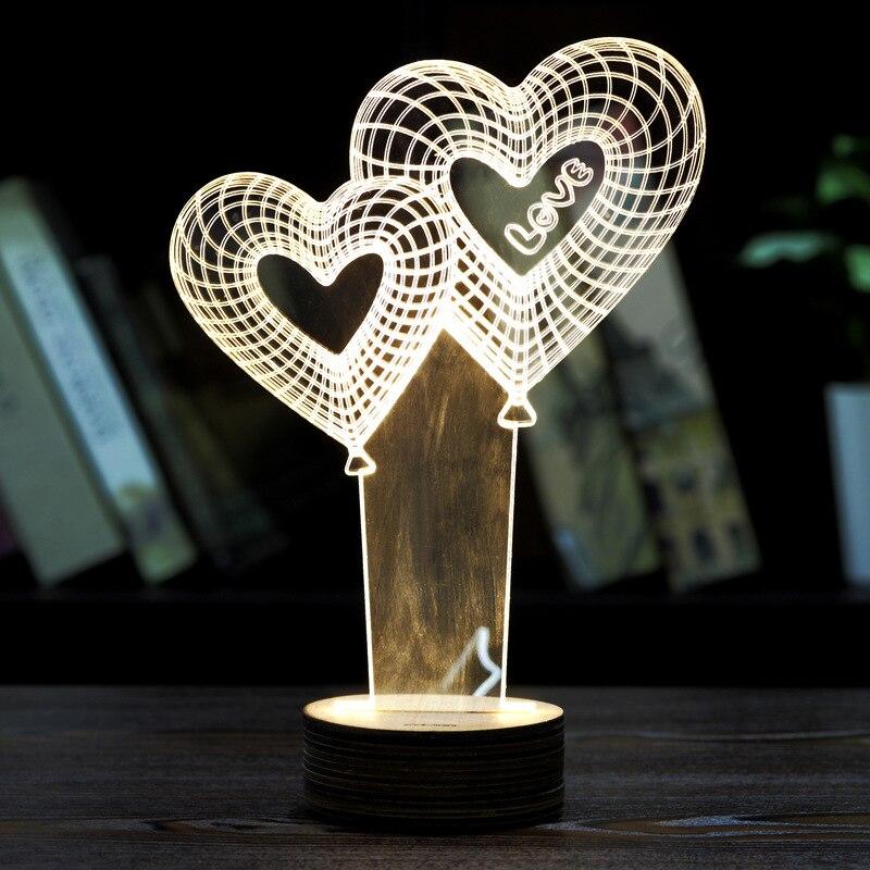 LED 3D night lights Love balloon mode Creative Ambient Light desk lamp Home Lighting Bulbing color change