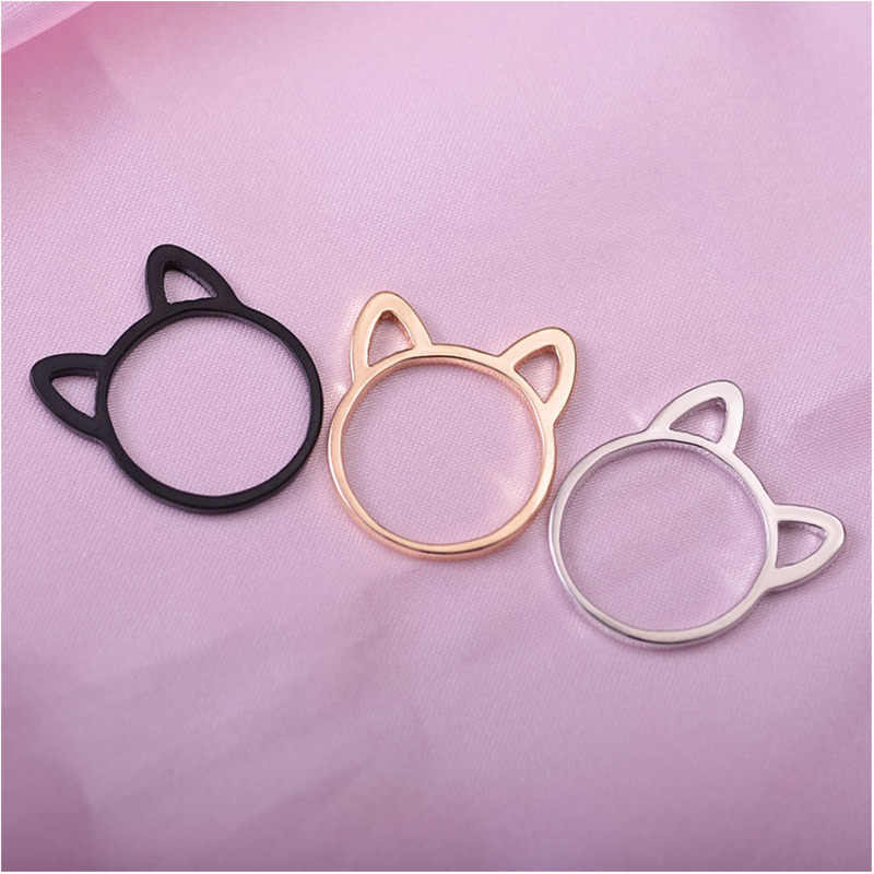 2018 New Hollow Out Cat Ears Ring For Women Animal Cartoon Jewelry Fashion Plating Black Ring Girls Plated Gold Rings For Women
